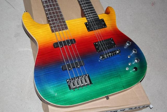 FDDH-005 multi color solid body chrome hardware 4 String Bass and 6 String double neck electric guitar  2