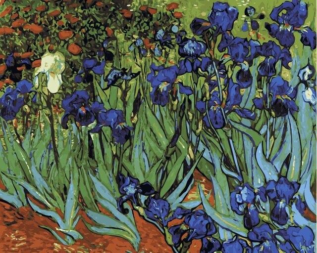 MaHuaf,i361 Van Gogh fleur bleue paysage bricolage peinture à l\u0027huile par  numéros