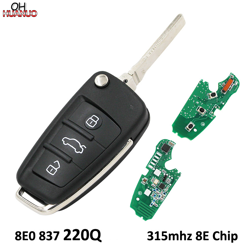 3 Buttons Flip Remote Key Control Fob 8E0 837 220Q 315MHz With 8E Chip for Audi
