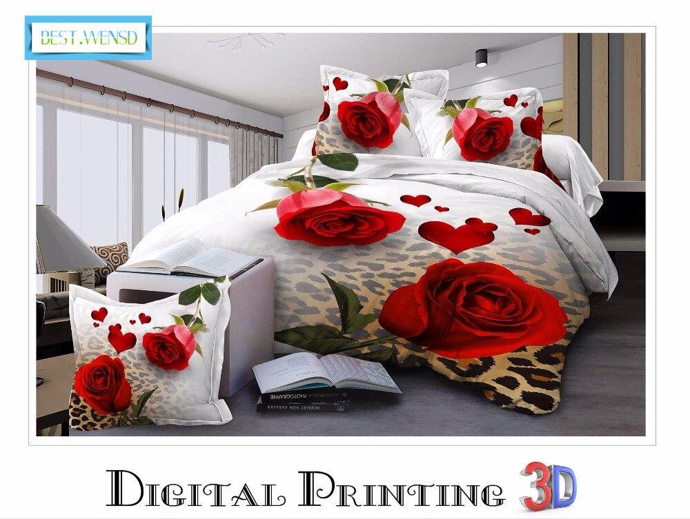 Couvre-lit plat de luxe king size 3/4 pièces ensemble de literie d'hiver décoration de mariage 3d rose couvre lit taies d'oreiller-housse de couette