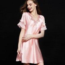 Лето Осень шелк женский тонкий шелковая ночная рубашка с короткими рукавами шелк сексуальный искушение лед домашний домашнее платье код