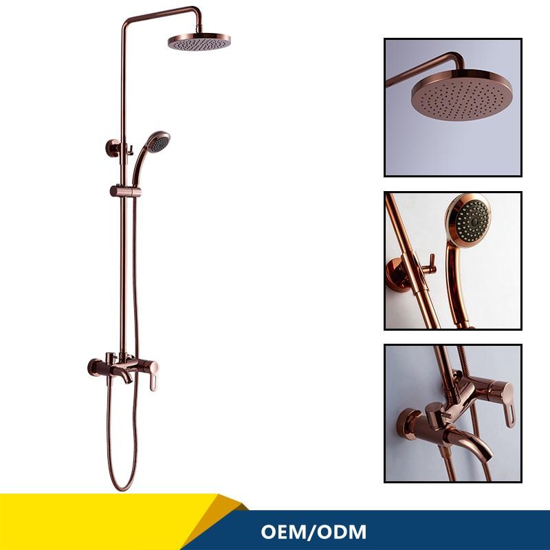 Luksusowe złoto i różowe złoto mosiądz deszczownica kran zestaw pojedynczy uchwyt ceramiczny z hydromasażem Mixer prysznic ręczny wanna z prysznicem kolumna ścianie zamontowany