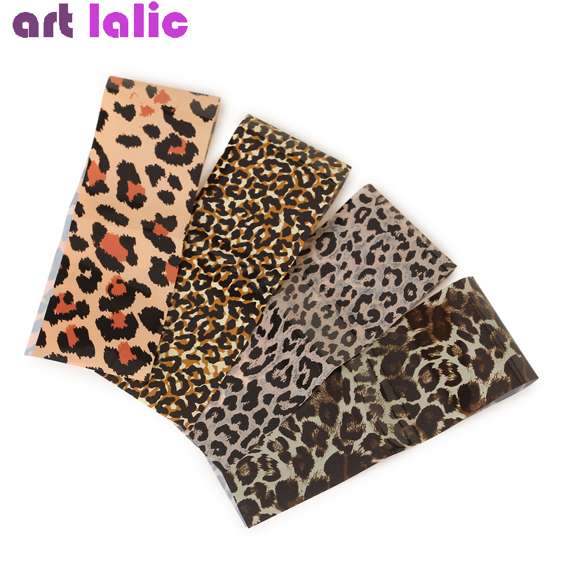 4pcs Leopard Print Stickers On Nails Foils Starry Sky Wraps Transfer Decals Polishing Sliders Nails Accessories Wrap Tools