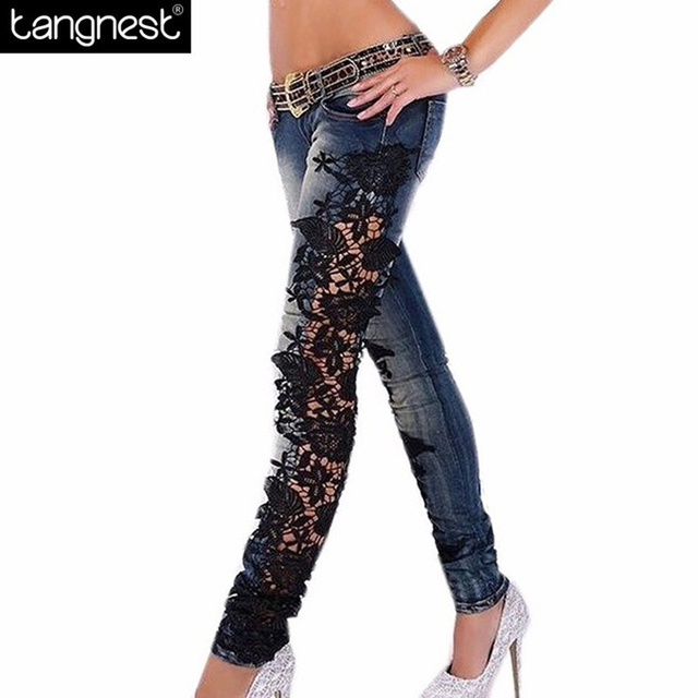 TANGNEST Sexy Hollow Out Lace Skinny Jeans 2017 Fashion Women Plus Size Flower Hook Pencil Pants Plus Size Denim Trousers WKN470