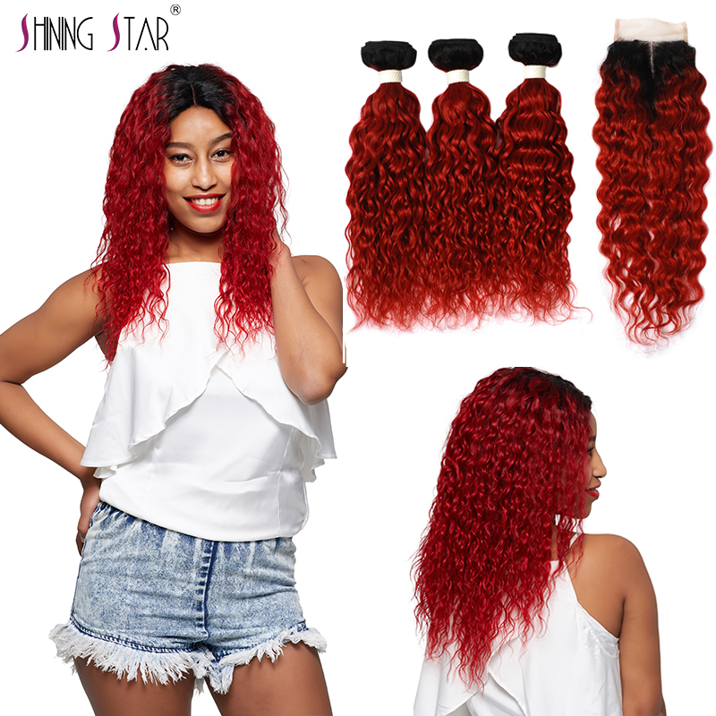 Shining Star 3 Ombre Bundles With Closure Human Hair Weave Brazilian 1B Red Colored Water Wave