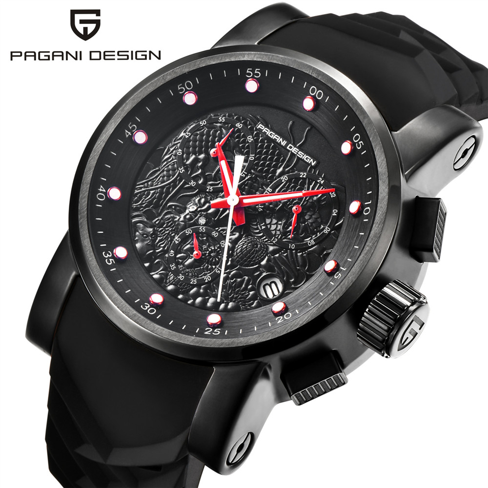 PAGANI DESIGN Silicone Strap Sport Quartz Watch Men Multifunction Chronograph Mens Watches Top Brand Luxury Male Clock saat 2018 pagani design mens watch fashion luxury brand clock male casual sport wristwatch men pirate skull style quartz watch reloj hombe