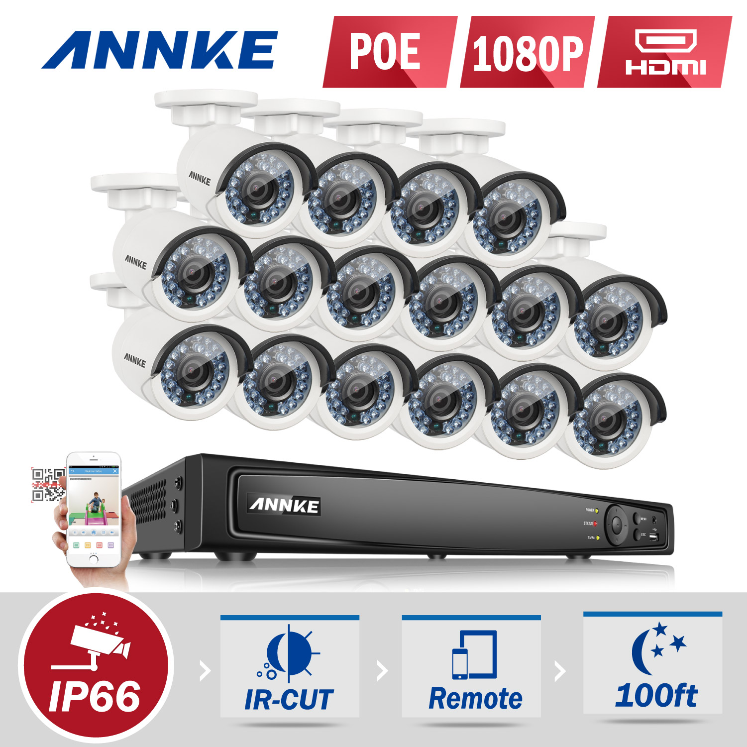 ANNKE 16CH 1080P Ture POE Security Camera System And 16pcs 2.0MP 1920TVL Weatherproof IP Cameras