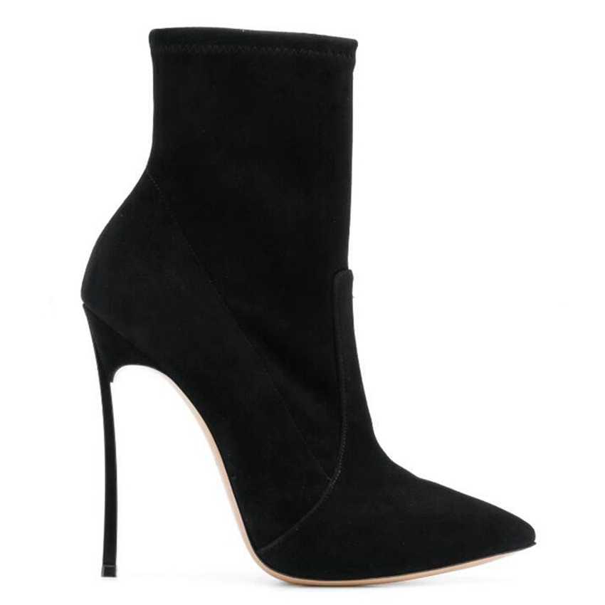 10.5 cm Cao Gót Mắt Cá Chân Khởi Động Phụ Nữ Sock Punk Khởi Động Khởi Động Tuyết Giày Mùa Đông Phụ Nữ Giả Da Lộn Da Womens Khởi Động Mắt Cá Chân giày dây đeo Phụ Nữ