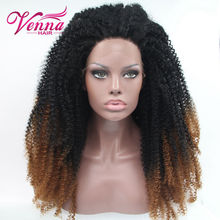 HOT SALE! Afro Kinky Curls Black Brown 2 Tones Ombre Wig Synthetic Lace Front Long Full Wigs Big Full for Black Women ~~