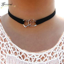 1PCS Double Heart Shape Multilayer Velvet Pendant Necklace For Chokers Necklaces Collares Fashion Jewelry Harajuku Punk Style
