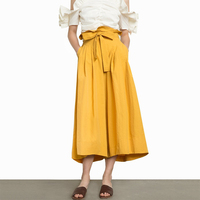 Yellow Bow Tie High Waisted Cropped Wide Leg Pants For Women Ladies OL Elegant Pleated Calf
