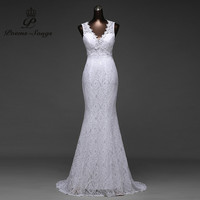 Real Photo Free Shipping Low Price Sexy V Neck And Very Sexy Backless Mermaid Wedding Dresses