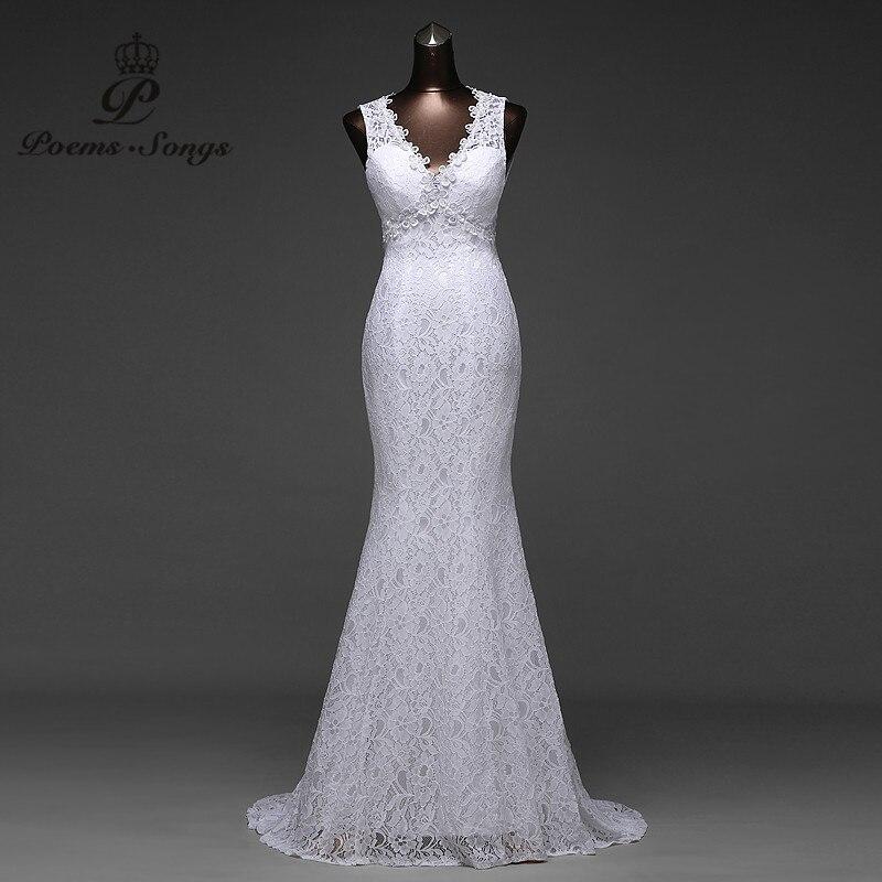 Lågt pris sexigt V_neck och väldigt vacker sexig backless mermaid brudklänningar vestidos de noiva mantel brudklänning mariage