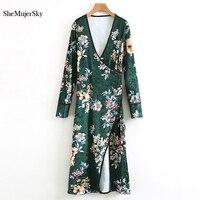 SheMujerSky Long Kimono Cardigan Green Blusa Mujer Floral Printed V Neck Vevlet Women Blouse Vetement Femme