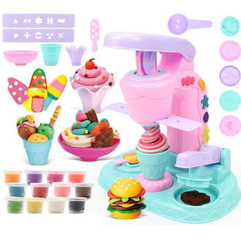 2018 new disney plasticine mold kit ice cream machine 3d color mud children girl educational toys DIY Plasticine Mould Colored Clay Slime Set Puzzle Baby Toys Pig Ice Cream Noodle Machine Soft Light Polymer Clay Girl Children