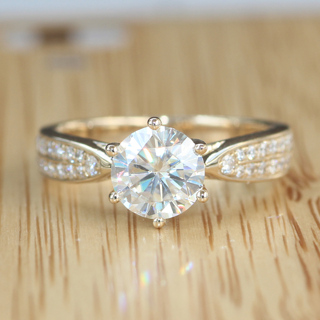 Queen brilliance genuine 14 k 585 ouro 1.2 ct moissanite engagement & wedding diamond ring com acentos diamante real para as mulheres