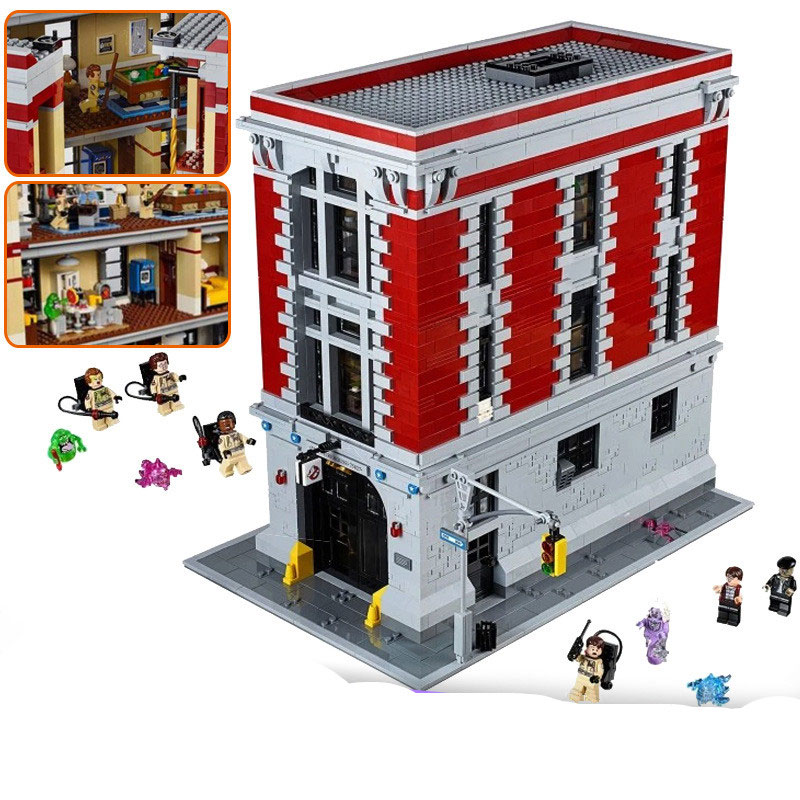 Lepin 16001 4695PCS series city blocks Ghostbusters fire building children's educational toys assembly 4695pcs lepin 16001 city series firehouse headquarters house model building blocks compatible 75827 architecture toy to children