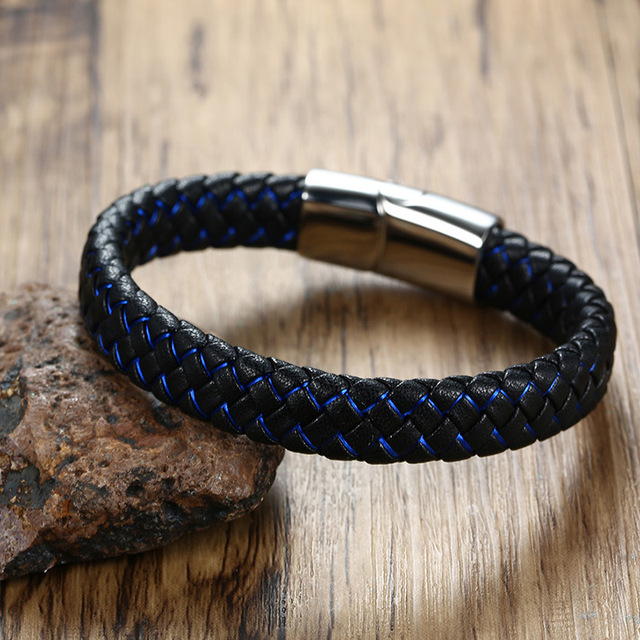 Фото высококачественный модный мужской индивидуальный браслет черный