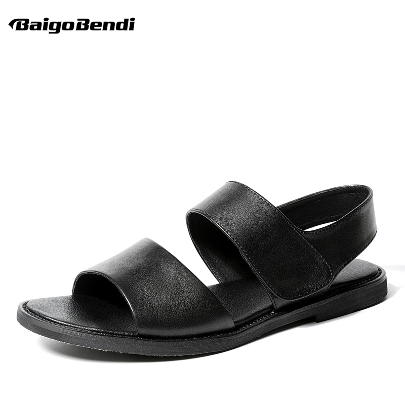 Summer Genuine Leather Leisure Men Hook Loop Sandals Business Man Gladiator Rome Sandal Casual Beach Shoes защитное стекло onext для samsung galaxy j5 prime 1 шт [41196]