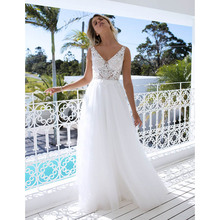 Verngo Lace Wedding dresses 2019 Double V-neck A-line Cheap Bridal dress VVestido de noiva Beach Long Dress