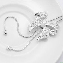 Hot Fashion Noble Alloy Rhinestone Bow Necklace Long Sweater Chain Pendant Necklace