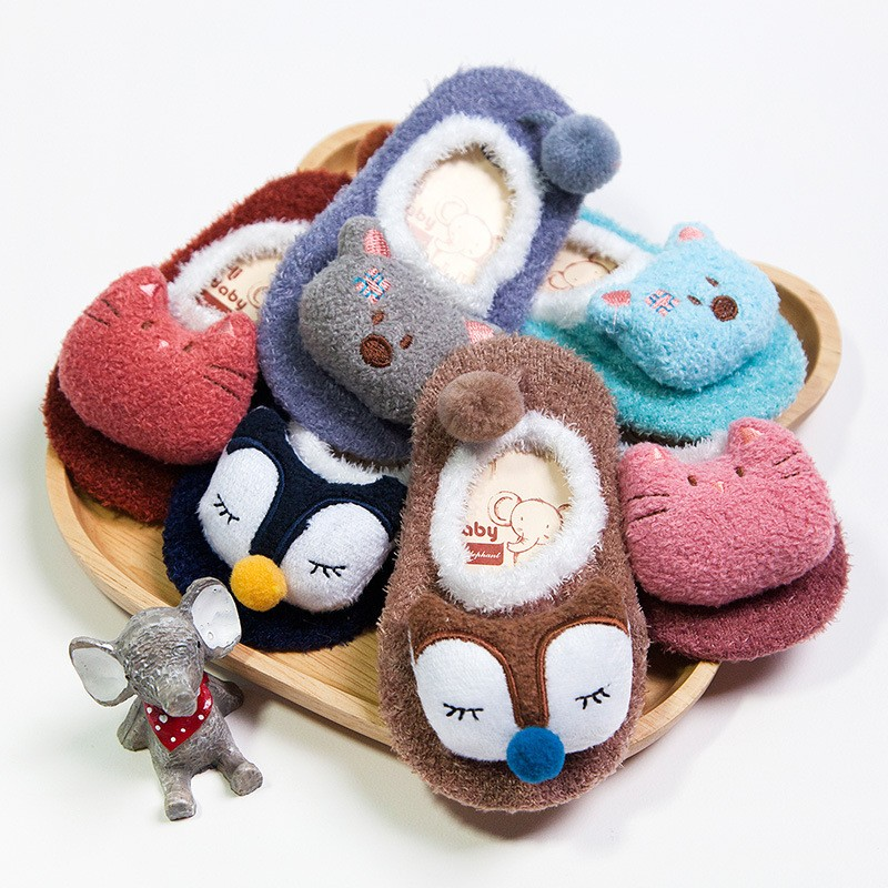 Winter Baby Boy Girl Children Socks Anti Slip Newborn Animal Cartoon Shoes Slippers Boots Soft Warm Coral Fleece Indoor Socks