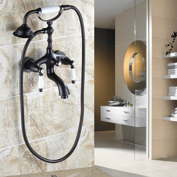 Exposed bath&shower faucet set with Telephone Shaped Handheld Shower oil rubbed bronze for bathtub YM-017 голень машина bronze gym d 017
