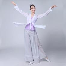 Китайский стиль Hanfu Классическая танцевальная одежда женская Танцевальная Марля элегантный китайский народный танец костюм для женщин