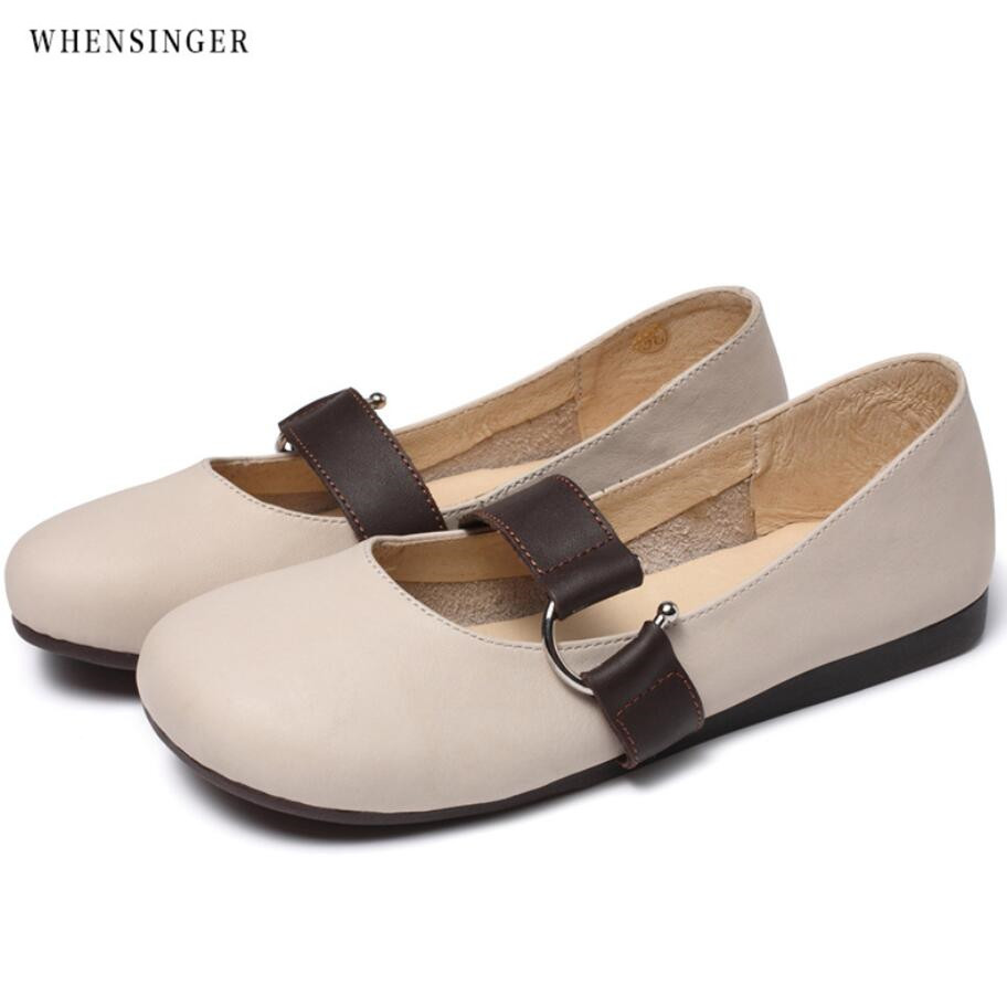 Whensinger - Women shoes Pointed toe Flat Slip on Loafers Ladies leather Ballet Flats Genuine Leather shoes for Women free shipping new chic metal pointed closed toe transparent shiny pointed ballet flat shoes women s shoes sjl167