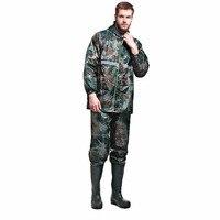 Mannen Regenjas Sets Camouflage Jas + Broek Waterdicht Hooded Werk kleding Reflecterende Strip Veiligheid Outdoor Werk Reizen Regenkleding