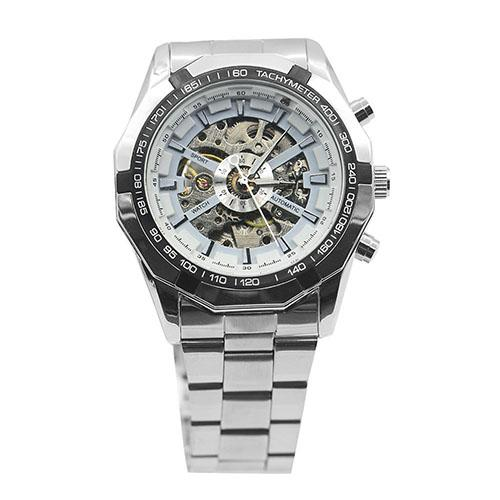 Men Hand-Winding Skeleton Automatic Mechanical Stainless Steel Sport Wrist Watch automatic watch relogio nbw0he6767 men s stainless steel skeleton mechanical self winding analog wrist watch grey white