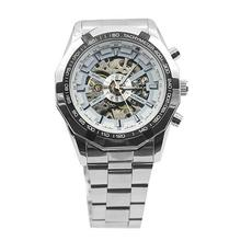 Men Hand-Winding Skeleton Automatic Mechanical Stainless Steel Sport Wrist Watch automatic watch relogio цена