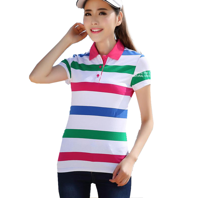 Women Polo Short Sleeve Large Size Movement Cotton Spring Summer Lapel Female Breathable Plaid Femme Shirt Hot New A50