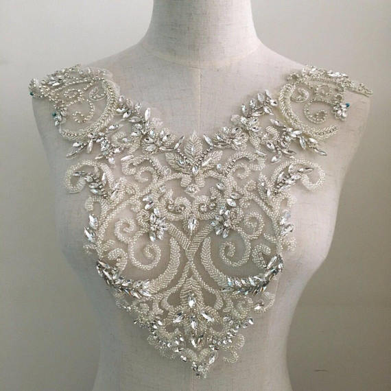Applique corsage strass, applique cristal, applique corsage cristal pour robe de mariée, applique corsage perle lourde ZL5 #-in Strass from Maison & Animalerie    1
