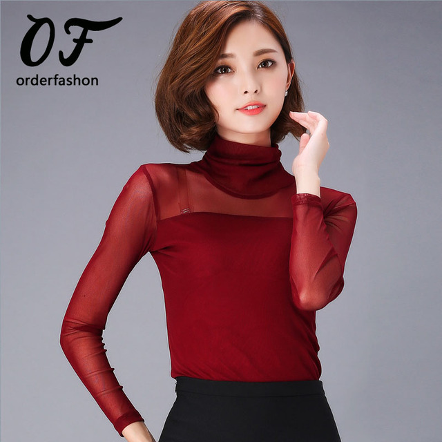 968aa59880b Dames Kleding 2017 Women Mesh High Neck Blouse Feminino Long Sleeve  High-Collar Shirt Turtleneck