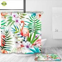 New 180 180 Bathroom Shower Curtain Sets Flamingo Pattern Bath Curtain Wholesale Polyester Fabric Perished Waterproof