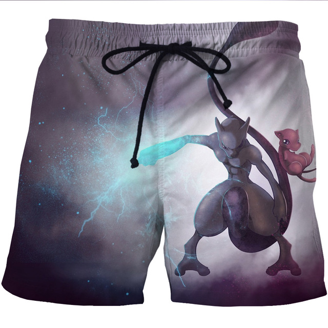 3e88391e65 Pokemon Go Mewtwo Mew Print Men Sports Shorts Quick Dry Mesh Short Pants  Pokemon Mewtwo Pattern Beach Surf Shorts Mens Trunks