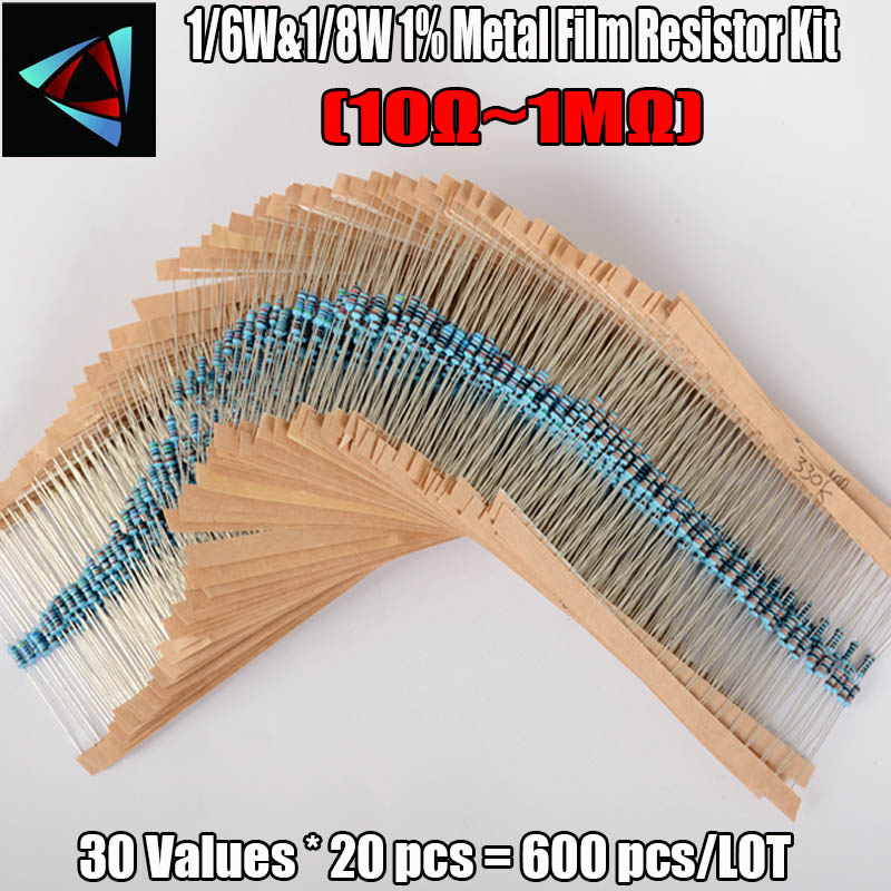 600pcs/set 30 Kinds 1/8W Resistance 1% Metal Film Resistor Pack Assorted Kit 1K 10K 100K 220ohm 1M Resistors 300pcs/set
