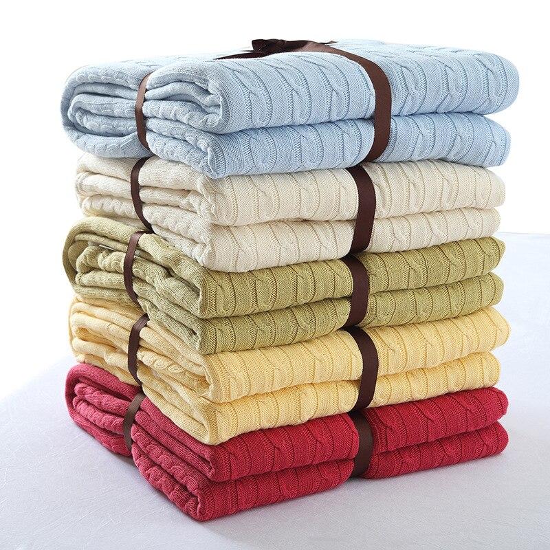 150*200 см в полоску Стиль хлопок диван покрывала для постели сплошной Цвет зимние теплые мягкие трикотажные Одеяло для Самолет офисное одеяло...