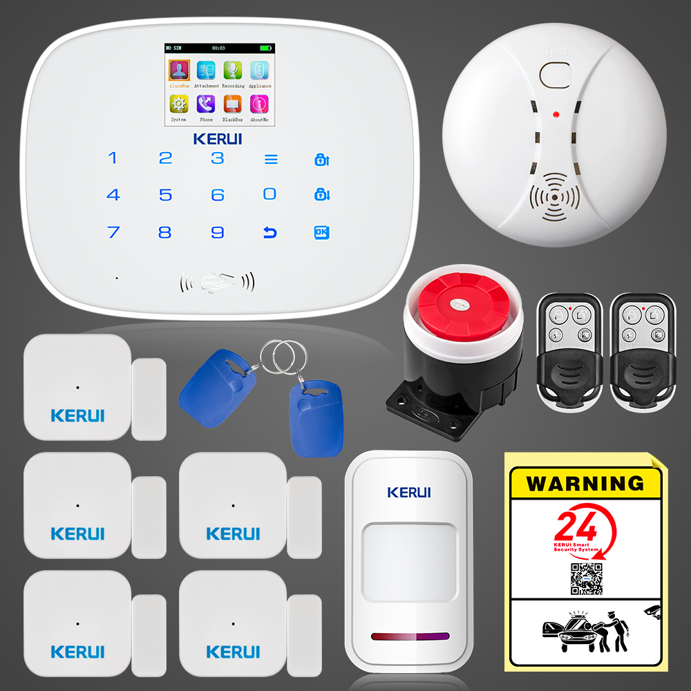 KERUI G19 Android IOS APP Control Home Security GSM Alarm Wireless Remote Control with Fire Smoke Detector android ios app remote control wireless wifi gsm home burglar security system with fire smoke detector and outdoor flash siren
