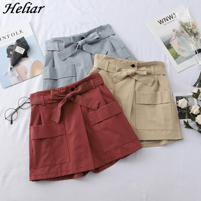 HELIAR 2019 Spring Shorts Women High Waist Casual Bowknot Short Wide Leg Woman Shorts Loose Solid Soft Cotton Casual Short