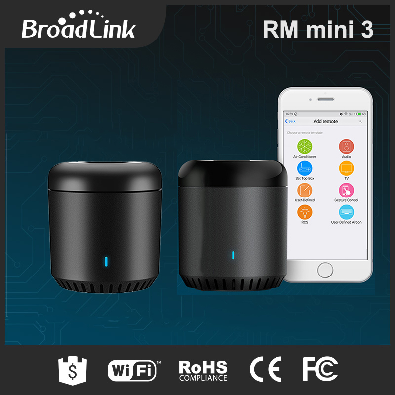 BroadLink RM Mini3 Smart IR Wifi Universal Remote Air Conditioner TV Controller Control By IOS Android Phone for Home Appliances in stock 100% xiaomi mi universal smart remote controller home appliances wifi ir switch 360 degree smart for air conditioner tv