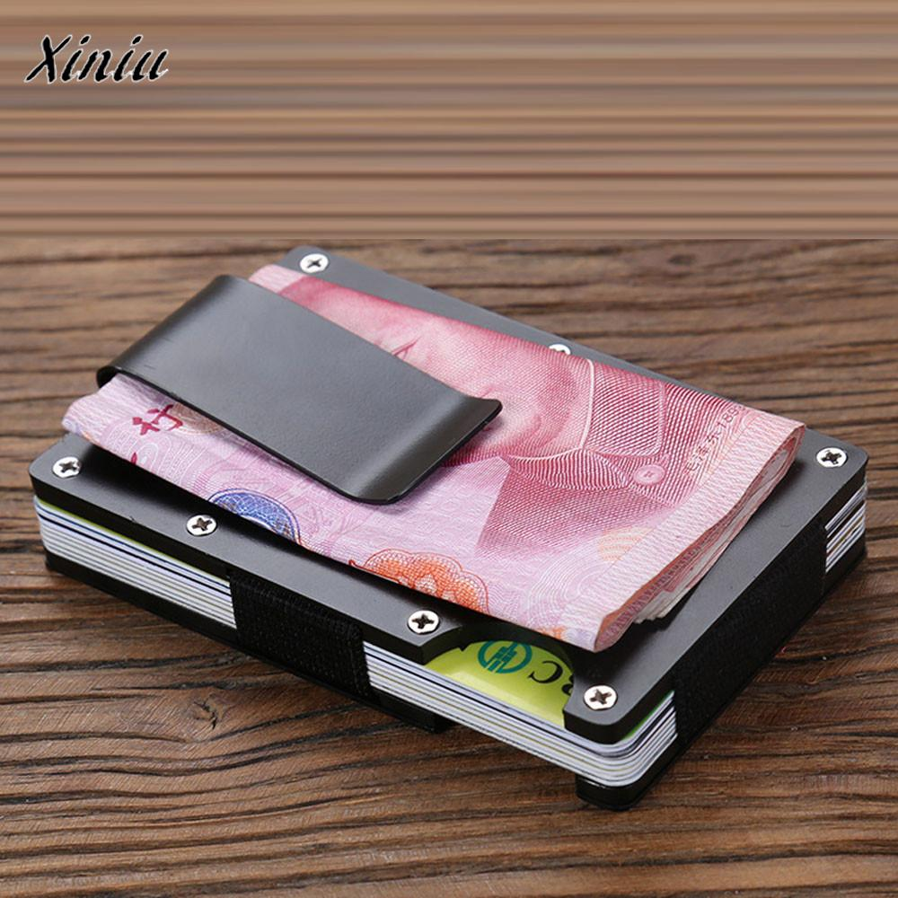 Men Metal Card Wallet Anti Theft Credit Card Holder Aluminum Money Bag With Blocking tarjeteroPorte Carte Bancaire #6010