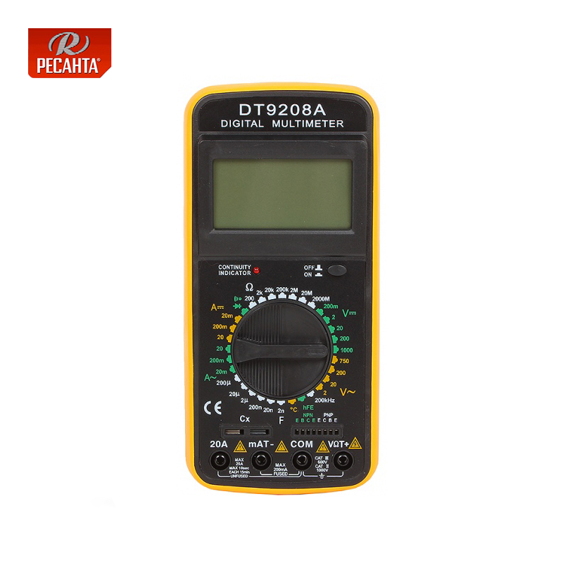 Resanta DT 9208A Multimeter for Electrical Digital Display Multi functional Measure Current Voltage and Resistance Household