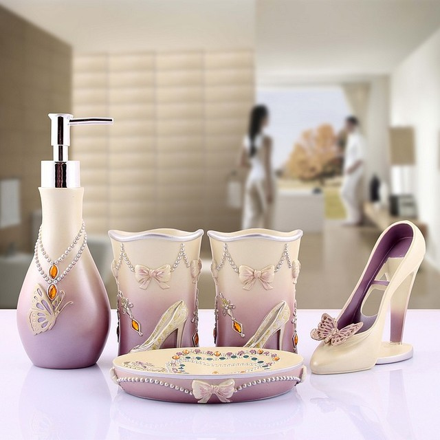 Resin Bathroom Set Of Five Pieces Decoration And Supplies Kits Fashion Lady Heeled Shoes