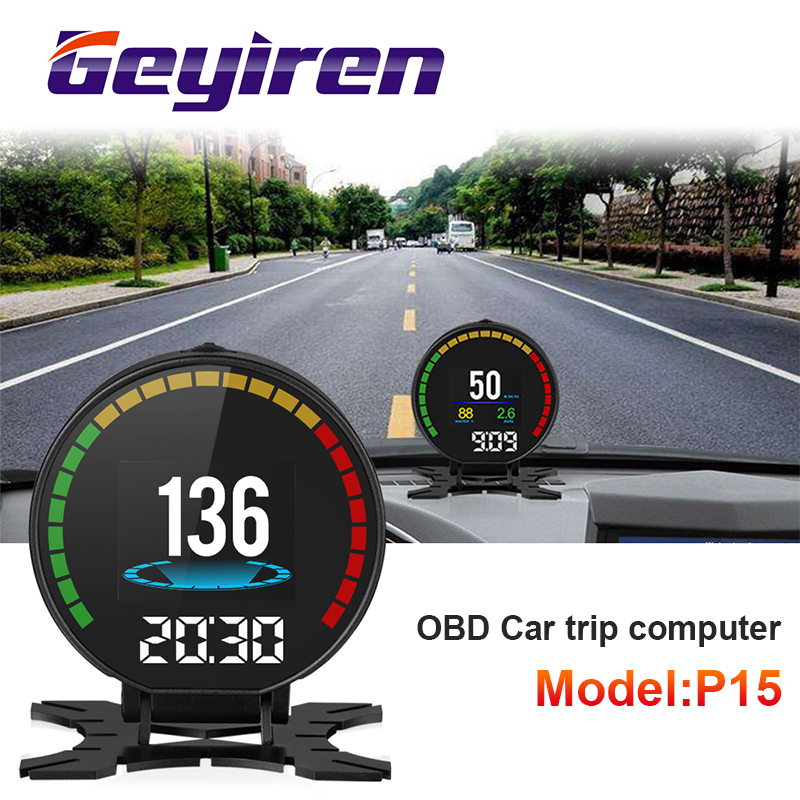 GEYIREN P15 head up display hud obd2 temperature car KM/h MPH Turbo Boost Pressure speed projector on the windshield for car HUD