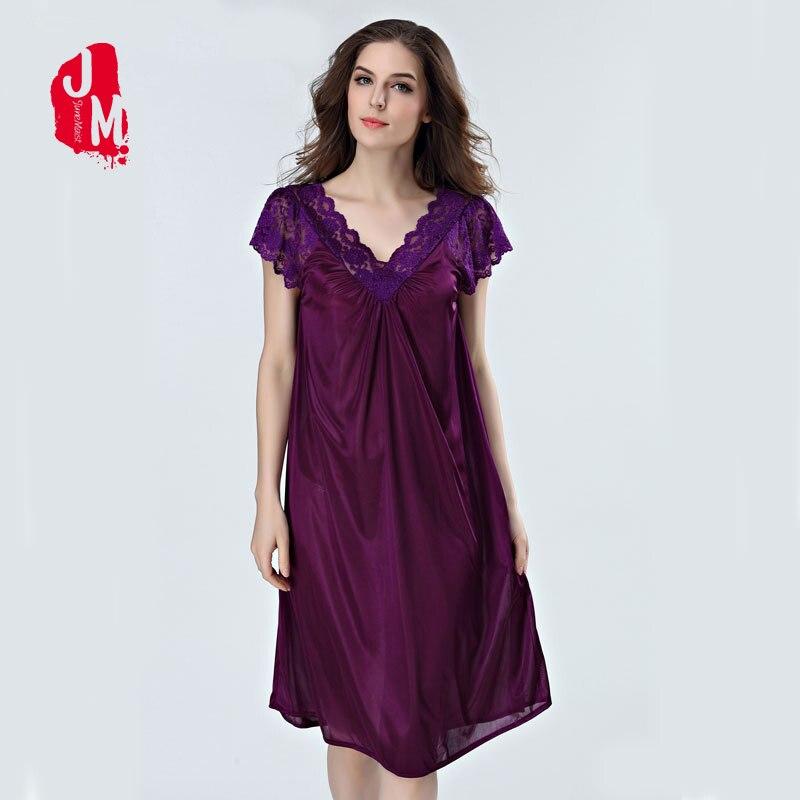 Felmale Silk Sleepwear Lace Knee-length Nightgown V-neck Nightwear Women Nightdress Short Sleeve Sleepwear Short Satin Nightgown