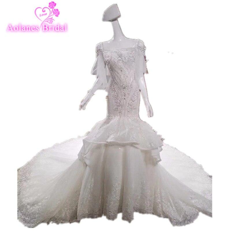 Luxurious Crystals Mermaid Wedding dress Expensive bridal vestido de noiva robe de mariage vestido de noiva curto 2018 Customize