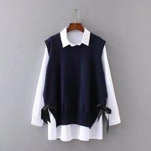 Suit-dress New Pattern Korean White Shirt + Knitting Vest Twinset Suit Plus SIze XL-4XL недорго, оригинальная цена