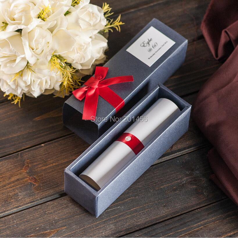 Scroll Box Wedding Invitations Card Black Color With Red Ribbon Bow And  Pearl Custom Box Birthday